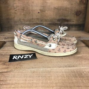 Sperry Top Sider Tan Angelfish Embossed Boat Shoes